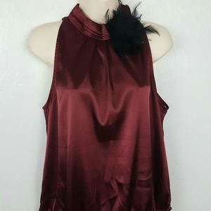 Forever 21 Burgundy top blouse sleeve size L New